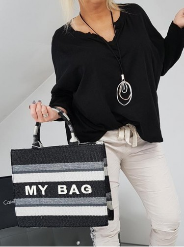 TORBA MY BAG BLACK & EKRU