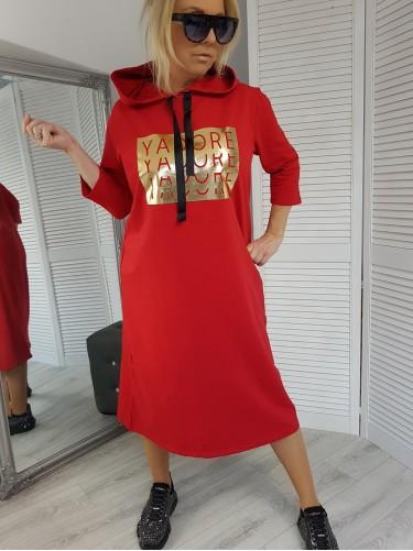 SUKIENKA YADORE  GOLD RED